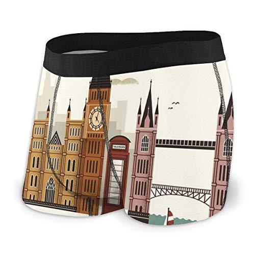 Calzoncillos bxer para Hombre, Atractivo Paisaje de Viaje Ciudad Famosa Inglaterra Big Ben Cabina telefnica Westminster Talla XL