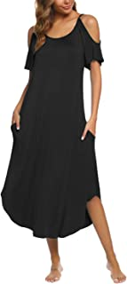 BBX Lephsnt Women's Summer Cold Shoulder Long Nightgowns Womens Lounge Dresses with Pockets S-XXL