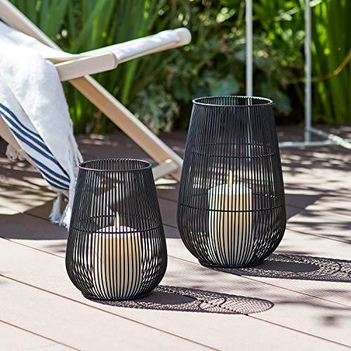 Set of 2 Melbourne Black Garden Lanterns TruGlow Pillar Candle Bundle Battery Timer Indoor & Outdoor Use