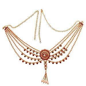 Traditional Four Layer Royal Kundan Red Waist Kamarband for Women and Girls