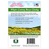 NuAngel 12 Piece Cotton Burp Cloths, White