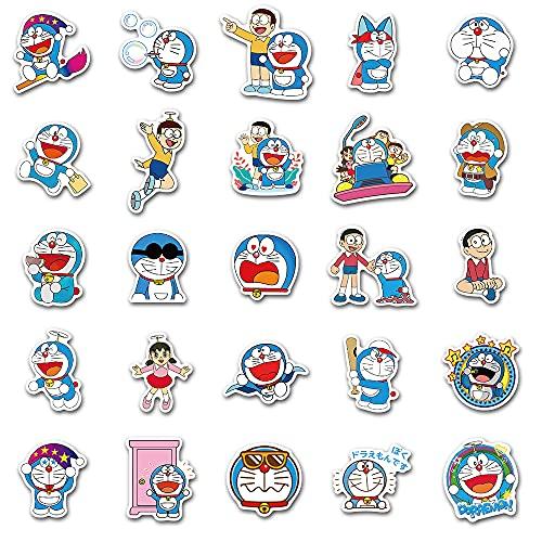 DSSJ 50 Pegatinas animadas de Dibujos Animados de Doraemon, Bonita Maleta Animada, Pegatinas Impermeables para Ordenador portátil iPad