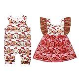FeMereina Bruder Schwester Neugeborene Zwillinge passenden Outfit - Erstes Weihnachtsmütze Welpen Muster Baby Strampler Bodysuit Kleid 0-18 Monate (Strampler, 80/3-6 Monate)