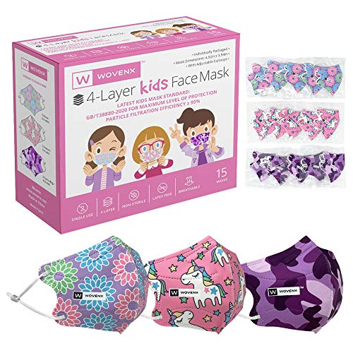 Wovenx, 4 Ply, Kids Face Masks 15 Pack, With Adjustable Earloops, Individually Packaged, Disposable (Girls Masks: Unicorn, Flowers, Camouflage)