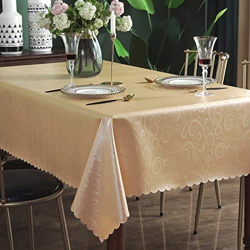 Qualsen Nappe Carrée Anti Tache Impermeable Nappe de Table Toile Cirée de Salle à Manger (180x180cm, Champagne Or)