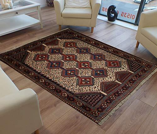 TrendyLiving4U Kurzflor-Designer Teppich extra weich fürs Wohnzimmer, Schlafzimmer, Esszimmer oder Kinderzimmer Persien Yalameh Handarbeit 149x188CM Blau