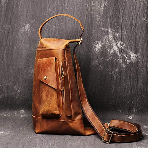 XinMeiMaoYi Outdoor Backpack Outdoor Travel Mountaineering Bag Chest Pockets Crazy Horse Leather Man Bag Large Leisure Backpack 22 * 14 * 36cm (Color : Brown)