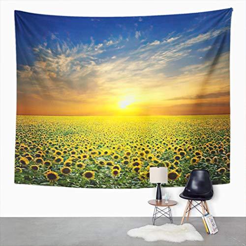 Y·JIANG Tapiz de paisaje de verano, puesta de sol sobre girasoles campo para el hogar, tapiz grande decorativo, manta ancha para colgar en la pared para sala de estar, dormitorio, 80 x 60 pulgadas