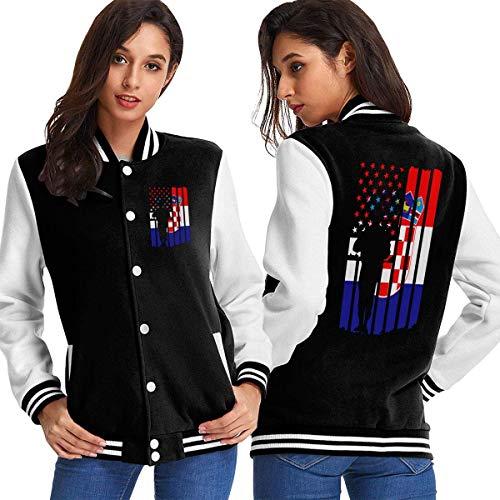 Six23S Frauen Baseball Jacke Mantel American Croatia Flag Army Veterans Women's Long Sleeve Baseball Jacket Varsity Jacket