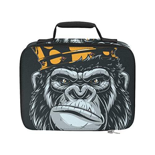 Grausamer und heftiger Gorilla tragbarer Kühler Isoliert Auslaufsichere Isolierte Lunchbeutel 9,51 × 3,15 × 7,48 Zoll Lebensmitteleinkaufs-Strandtasche für die Arbeit Picknick-Wanderstrand