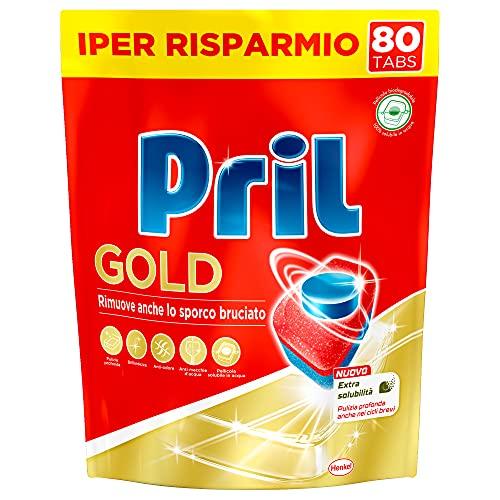 Pril Pril Tabs Gold 12 Azioni, Detersivo per Lavastoviglie, Pulisce a Fondo Anche i Residui Ostinati, Confezione da 80 Tabs - 1520 g