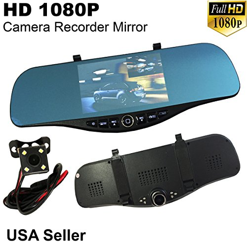 "Price comparison product image 5"" Monitor 1080P Full HD Blue Tint Front / Backup Rear Camera Video Recorder Rearview Rear-View SD Inside Mirror US Seller"
