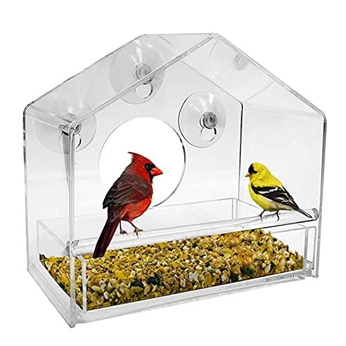 Gu3Je Comederos para pájaros, Alimentador de Aves de Ventanas de acrílico con ventosas Fuertes y Bandeja de Semillas, Aves al Aire Libre para Aves Silvestres, pinzón para jardín al Aire Libre