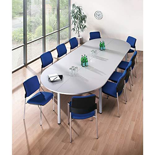 HAMMERBACHER Konferenztisch - Viertelkreisplatte - LxB 800 x 800 mm, lichtgrau   KP91/5 -...