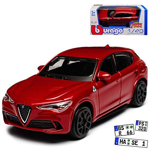 Bburago Alfa Romeo Stelvio Typ 949 SUV Rot Metallic Ab 2017 1/43 Modell Auto