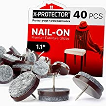 Nail on Felt Pads X-PROTECTOR - 40 Felt Furniture Pads – Felt Chair Pads for Hardwood Floors - Floor Protectors for Furniture Legs - Best Furniture Sliders for Hardwood Floors! (28mm)