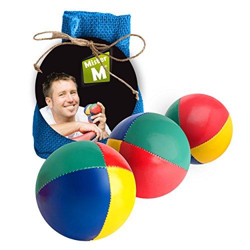 Mister M ✓ Jonglierbälle mit Naturfüllung 3 Bälle ✓ mit online Lern online Video ✓ Jute Beutel Blau ✓ Das Ultimative 3 Ball Jonglier Set