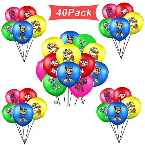 WELLXUNK® Geburtstag Deko Ballon, Luftballon Party Deko, Luftballon Dekoration, Kindergeburtstag Luftballons Dekoration Set Happy Birthday Deko Balloons, 40pcs, Für Patrouillieren Thema Party