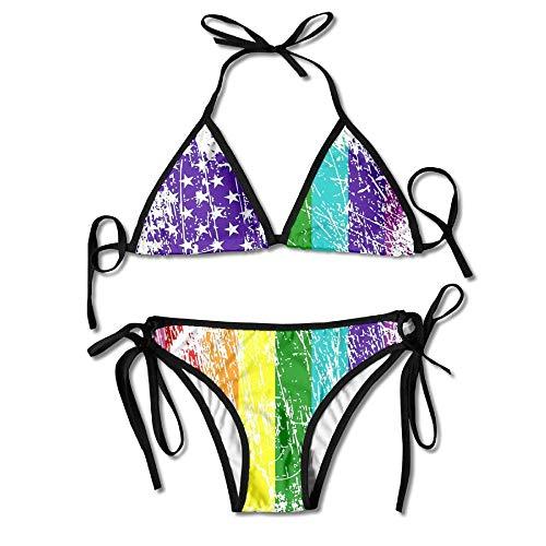 huatongxin Frauen Bademode American Flag Pride Lustige Box Bikini Set Badeanzüge 2 Stück Bikinis