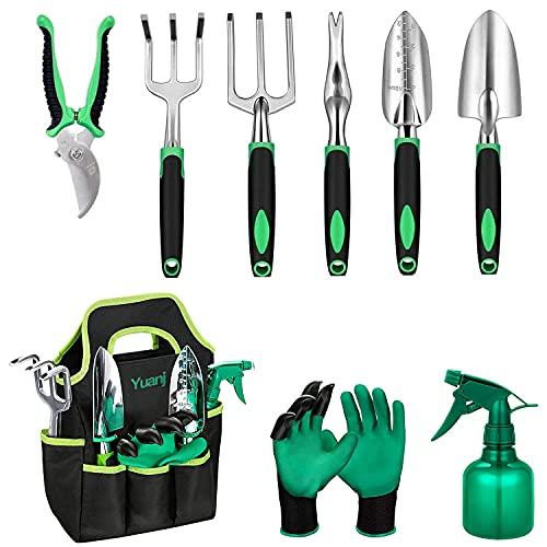 YUANJ Gartengeräte Set, 9 Teiliges Edelstahl Gartenwerkzeug Set mit Werkzeugbeutel, Garten Zubehör für Gartenpflege, Garten Geschenke für Frauen/Männer