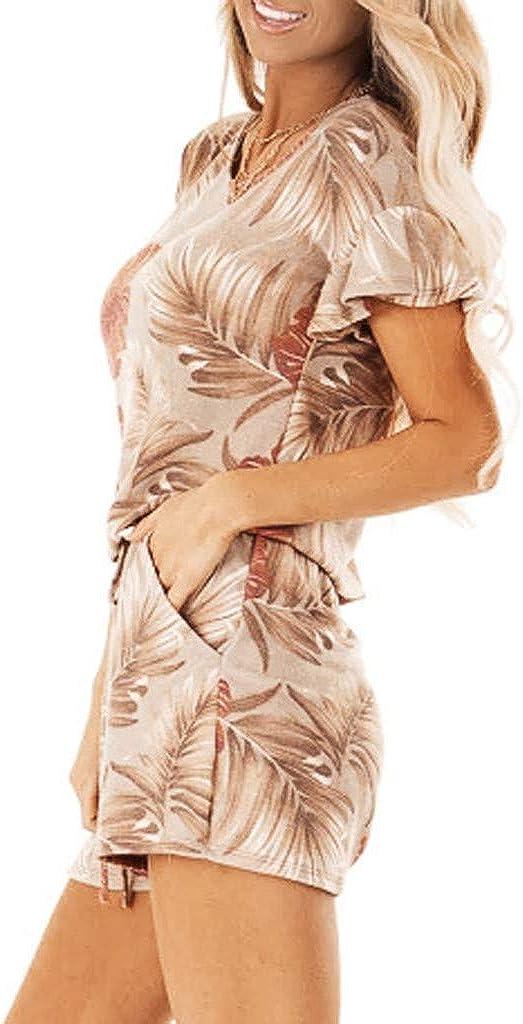 HCFKJ Combinaison Femme Ete,Mode Femelles D/'/éT/é L/âChe Floral Imprim/é Noeud Sangle Courte Salopette Barboteuses