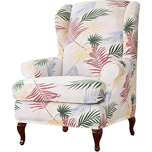 Ohrensessel Husse Mit Muster Blumen Elastisch Bezug Überzug Für Ohrenbackensessel Sesselbezug Stretch Passt Perfek-Weiß