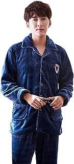 パジャマセット男性のネルの冬の肥厚+ベルベットのパジャマ秋と冬の暖かい家庭用衣類セット パジャマ (Color : Blue, Size : 175cm/xl)