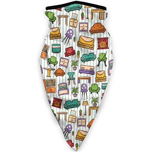 FGHJKL - Máscara cortavientos, varios elementos para el hogar, sillón de mesa, diseño de espejo, estilo garabateo, para hombre y mujer, diadema, pañuelo