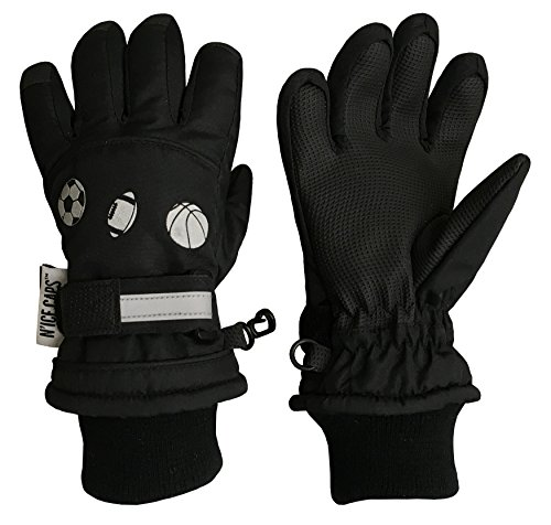 N'Ice Caps Little Boys Sports Balls Waterproof Thinsulate Winter Snow Gloves (5-6 Years, Sports Black)