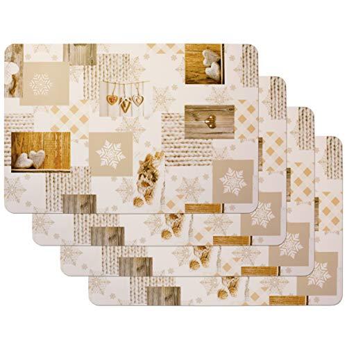 Venilia Tischset Snow Love, Platzset für Esszimmer, Telleruntersetzer, Weihnachten Tischdekoration, Weihnachtliche Platzdeckchen, abwischbar, lebensmittelecht, 45 x 30 cm, 4 Stück, 59067, Kunststoff