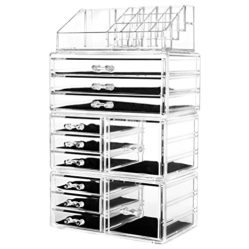 """HBlife Makeup Organizer Acrylic Cosmetic Storage Drawers and Jewelry Display Box with 11 Drawers,9.5"""" x 5.4"""" x 15.8"""", 4 Piece, Clear"""