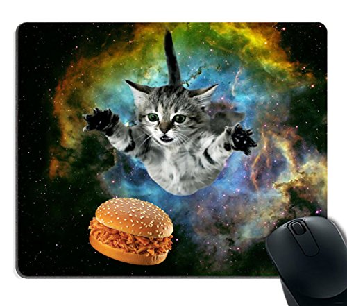 Smooffly Galaxy Space Cat Gaming Mouse Pad Custom,Curious Cat Flying Through Space Reaching for a Hamburger in Galaxy Space Hilarious Mouse Pad