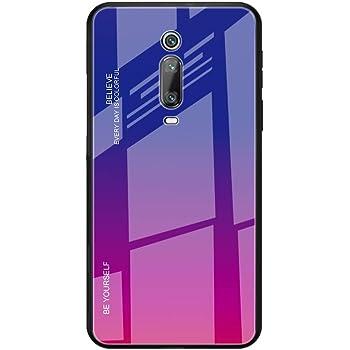 Toppix 対応: Xiaomi Redmi K20 / K20 Pro ケース, 保護カバーTPUフレーム + 強化ガラス製バックカバー [傷の防止] Xiaomi Redmi K20 / K20 Pro用 カバ (パープル, 赤)