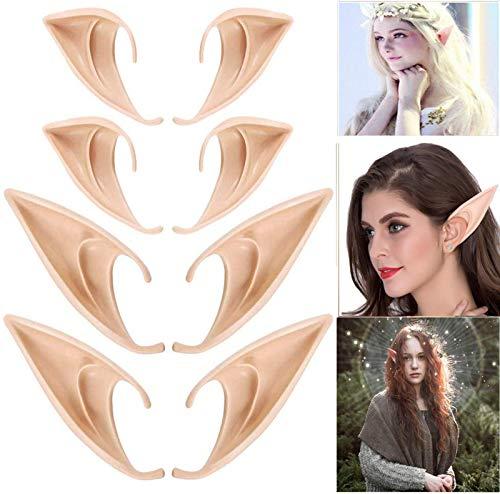 4 pares de orejas de hadas divertidas, orejas de hadas de ltex, adecuadas para accesorios de cosplay de hadas, accesorios de disfraces, carnaval, fiesta de Halloween