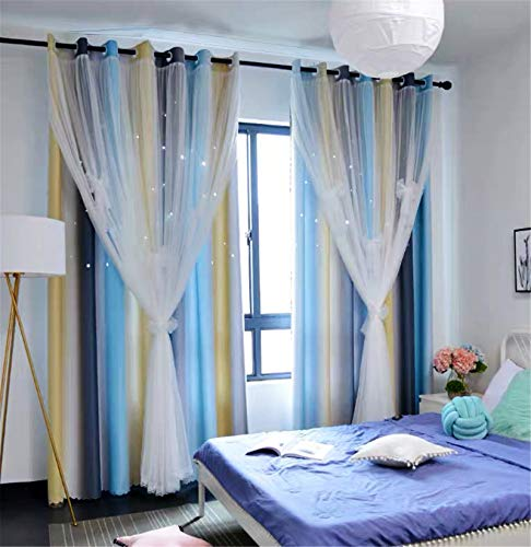"""Yancorp Room Darkening Light Blocking Gray Blue Curtains White Sheer Lace Detachable Bow Ties Kids Room Decor Ombre Drapes Star Double Layer Window Panels Bedroom Living Room (Gray Blue, W52 X 96"""")"""