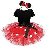 Abito - costume - costumino - minnie - topolina - body - tutu - tulle - cerchietto - carnevale - halloween - cosplay - accessori - bambina - regalo (rosso) taglia 90-2 anni
