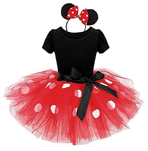 Rojo - talla 90-2 años - vestido - disfraz - minnie - mouse - leotardo - tutú - tul - diadema - carnaval - halloween - cosplay - accesorios - niña - regalo minnie