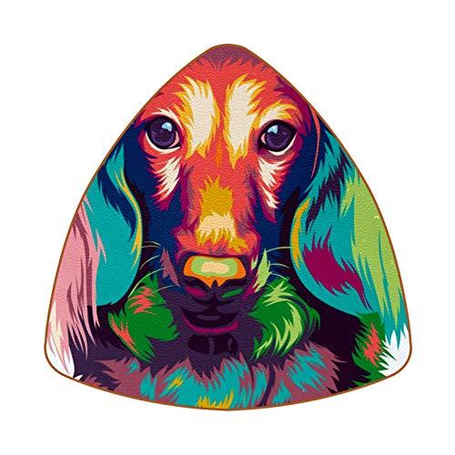 Posavasos triangulares para bebidas de pelo largo en miniatura perro salchicha taza de cuero alfombrilla para proteger muebles, resistente al calor, decoración de bar de cocina, juego de 6