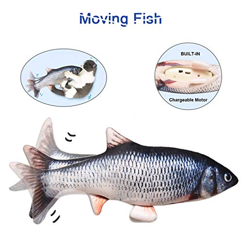 Potaroma 11quot Moving Cat Kicker Fish Toy Realistic Flopping Fish Wiggle Fish Catnip Toys Motion Kitten Toy Plush Interactive Cat Toys Fun Toy for Cat Exercise CatFishToyKittyInteractive