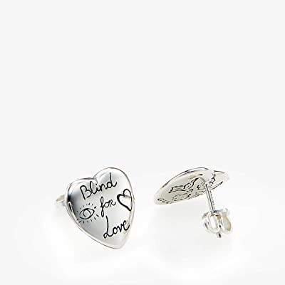 Gucci Blind for Love Stud Heart Earrings (Silver) Earring