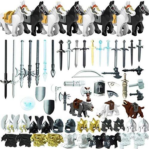 PARIO 75St. Ritter Helm, Ritter Weste und Custom Waffen Set für Ritter Mini Figuren SWAT Team Polizei, kompatibel mit Lego