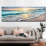 Carteles e impresiones de paisaje de puesta de sol de playa dorada natural e impresiones lienzo pintura mediterránea escandinava imagen artística de pared para sala de estar 30x90 CM (sin marco)