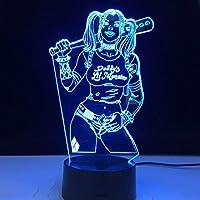 ハーレクイン自殺隊3D LEDナイトライトクリエイティブホームデコレーション3Dビジョン3Dビジュアル照明7色変更USB充電テーブルランプ誕生日プレゼントエンターテイメント装飾ギフト子供のおもちゃ [並行輸入品]