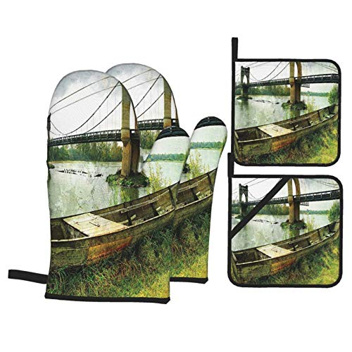 F-shop Bridge and Old Boat On Riverside Distressed Paint Style Nostalgic City Retro Picture Green Grey Oven Gloves and Pot Holders Set Personalized Barbecue Cooking Mitts