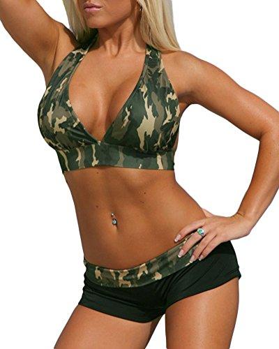 ZongSen Damen Große Größen Sport Freizeit Wassersport Schwimmen Push-up Bikini Sets Camouflage Bademode Swimwear XL