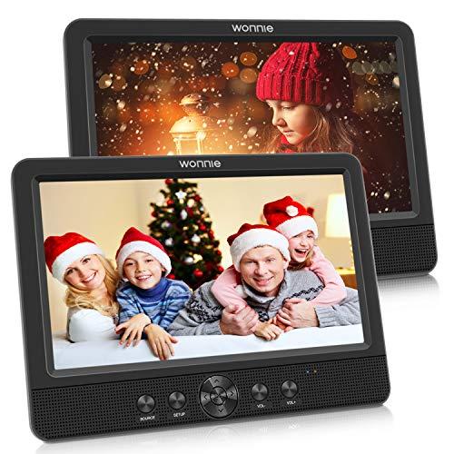 WONNIE 2020 Lecteur DVD Portable Voiture 2 Ecrans Enfants Vidéo avec Appuie-tête de 10,5...