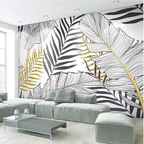 Carta da parati nordica in bianco e nero moderno stile minimalista arte foglie d\'oro scuro TV sfondo carta da parati muro di carta Carta Da Parati moderna 3D Fotomurali spiaggia-350cm×256cm