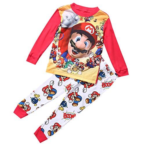 Heißer Cartoon Super Mario Baby Kinder Mädchen Jungen Freizeit Kleidung Sets Nachtwäsche Nachtwäsche Pyjamas Baby Jungen Kleidung Set Baby Jungen Kleidung Set 1-7Y (Mehrfarbig, 2-3 Jahre)