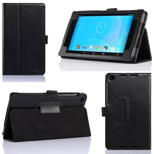 i-design Nexus 7 FHD Premium Leather Case with Flip Stand, Stylus Loop and Wake/Sleep Function (Nexus 7 FHD (2013), Black)