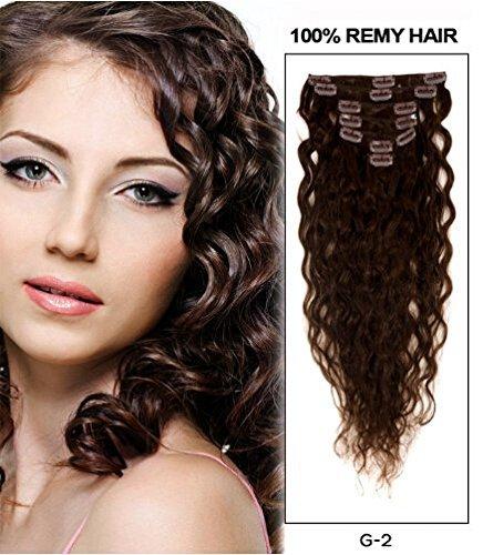 7 pièces bouclés à clipser brésiliens vierges Remy Extension de cheveux humains Brun foncé # 2 (50,8 cm (50 cm))